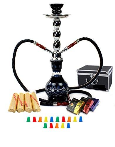 Zebra Smoke Starter Series: 18' 2 Hose Hookah Combo Kit Set w/ Instant Charcoal (Like Three Kings Charcoal), Hydro Herbal Molasses(like Blue Mist), and Hookah Mouth Tips Smokes More Then Hookah Pen (BlacK)