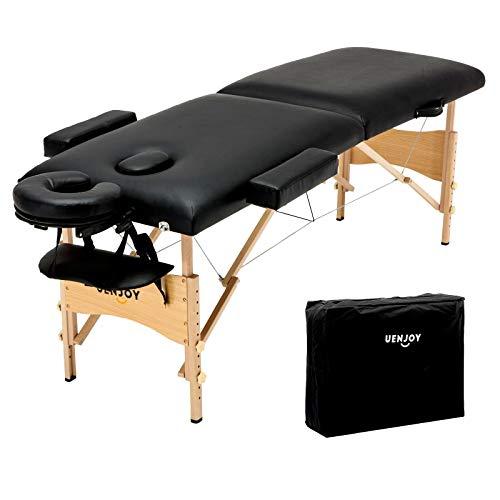 Uenjoy Folding Massage Table 84'' Professional Massage Bed 2 Fold Lash Bed with Head-& Armrest, Black