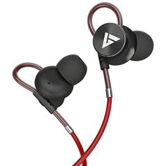 Boult Audio BassBuds Loop in-Ear Wired Earphones with Mic and Deep Bass, HD Sound Mobile Headset with Noise Cancellation and Customizable Ear Loop (Red)