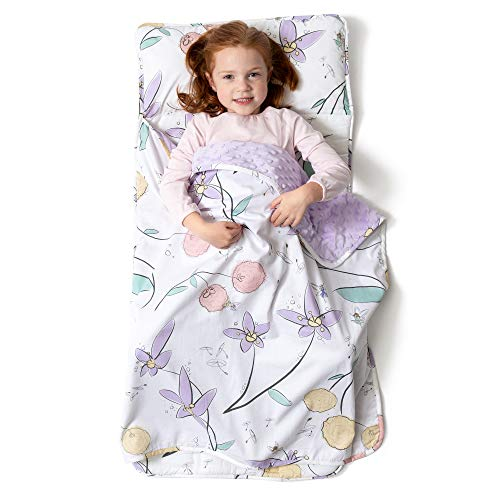 JumpOff Jo - Little Jo's Toddler Nap Mat - Children Sleeping Bag with Removable Pillow for Preschool, Daycare, and Sleepovers - Original Design: Fairy Blossoms (43' x 21')