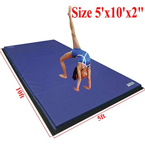gymmatsdirect 5'x10'x2 Super Large Gymnastics Exercise Tumbling Mat, 5 Panels Folding Gym mats, Blue
