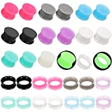 Jusway Plugs and Tunnels for Ears Silicone Ear Plugs Gauge Stretching Kit Flexible Thin Rubber Gauge Tunnles 3/4 Plugs 20mm(32PCS)