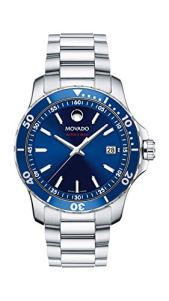 Movado Men's Series 800 Sport Stainless Watch with a Printed Index Dial, Silver/Blue (Model 2600137)