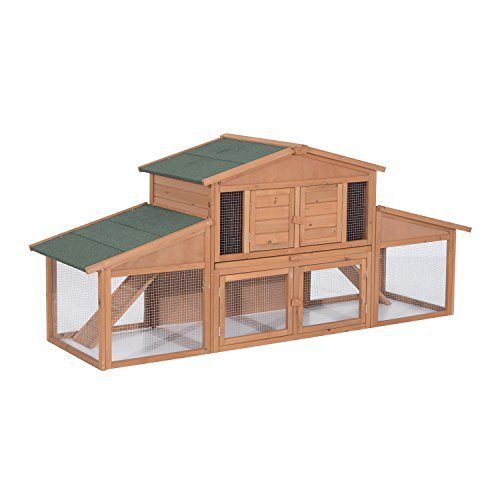 Pawhut 91' Deluxe Large Wooden Bunny Rabbit Hutch / Chicken Coop w/ Outdoor Run
