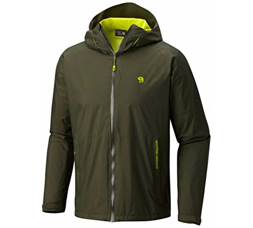Mountain Hardwear Mens Finder Waterproof Rain Jacket for Everday Use, Backpacking, Hiking and Camping - Surplus Green - S