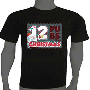 Amusing Sound Activated LED Christmas T-shirt 12 Pubs Size M