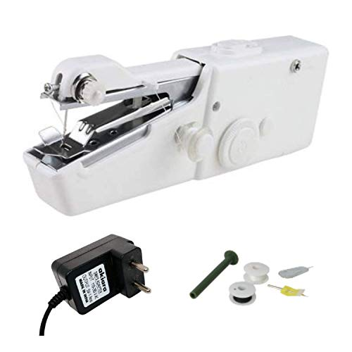 Akiara Electric Hand Sewing/Stitch Handheld Cordless Portable White Sewing Machine for Home Tailoring, Hand Machine | Mini Silai Machine with Adapter