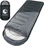 3-Season Sleeping Bag, Single, Regular Size - Lightweight, Comfortable, Water Resistant Backpacking Sleeping Bag for Adults & Kids - Ideal for Hiking, Camping & Outdoor Adventures - Black/Silver