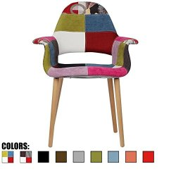 2xhome CH (Ann). Organic Upholstered Mid Century Modern Dining Arm Chair with Natural Wood Legs Patchwork A Fabric