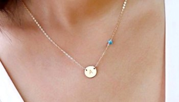 Rose gold family tree charm initial necklace personalized circle initial charm necklace and small gemstone bead personalized disc necklace turquoise birthstone jewelry aloadofball Gallery