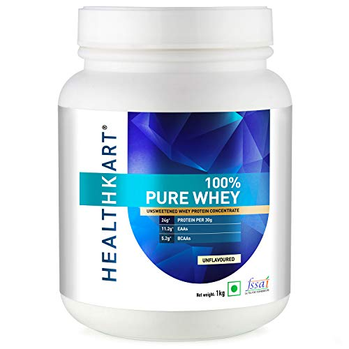 Best whey protein powder HealthKart 100% Pure Raw Whey Protein Concentrate, 1 Kg/2.2 lb (Unflavoured)