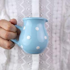 Blue Polka Dot Creamer Milk Jug
