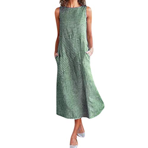Women Cotton Linen Maxi Dress, Lady Stripe Loose Sleeveless Scoop Neck Flowy Casual Long Beach Dresses with Pockets (Large, Green)