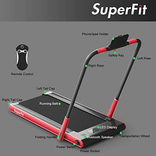 Goplus 2 in 1 Folding Treadmill, 2.25HP Under Desk Electric Treadmill, Installation-Free, with Remote Control, Bluetooth Speaker and LED Display, Walking Jogging Machine for Home Use 8