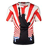 Men's Summer Independence Day 3D Printing Short Sleeves Blouse Top Red