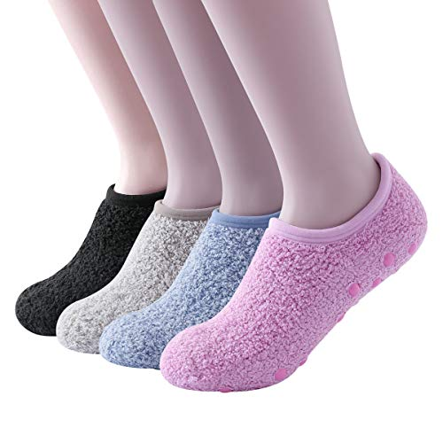 SKOLA 4Pairs Cozy Fuzzy Winter Women Socks,Gripper Slippers Socks,Fluffy No Show House Socks Lightweight Non Skid Bottoms(Black/Light Khaki/Light Blue/Pink)