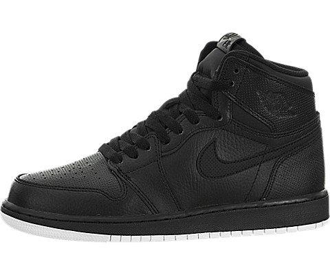 Jordan Nike Kids Air 1 Retro High OG BG Black/White Black Basketball Shoe 4.5 Kids US