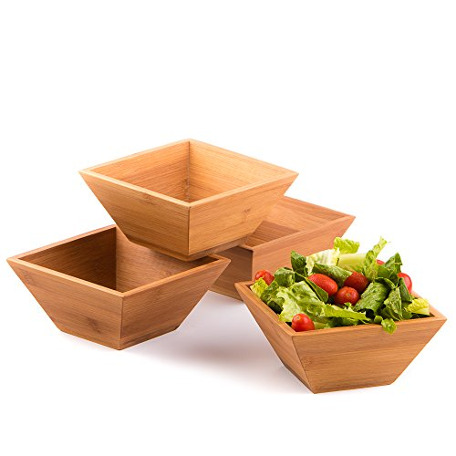 Wood Salad Bowl Set (Bamboo, Set Of 4) Best For Serving Salad, Pasta, Soup, and Fruit. Bowls Looks Absolutey Beautiful With Your Kitchen Setting. Pba Free / Eco-Friendly, By Midori Way