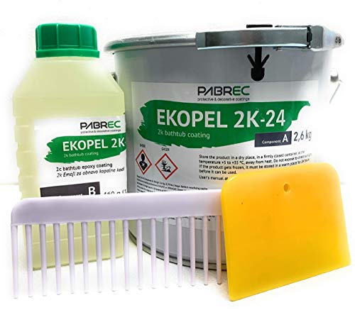 Ekopel 2K Bathtub Refinishing Kit - Odorless DIY Sink And Tub Reglazing Kit - 20X Thicker Than Other Tub Refinishing Kits- No Peel Pour On Tub Coating - Bright Gloss Tub Coating (White)