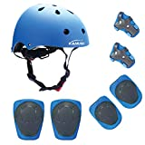 KAMUGO Kids Adjustable Helmet, with Knee Elbow Wrist Pads for Age 3-8 Years Toddler Boys Girls, for Bike Skateboard Hoverboard Cycling Scooter Rollerblading, CPSC Certified for Safety
