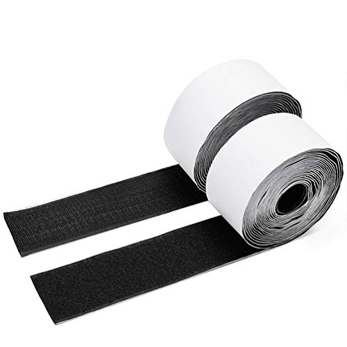 Charlux Hook and Loop Tape Roll 2 inch Wide 5.4 Yards(5 meters/16.4 feet) Long Heavy Duty Sticky Self Adhesive Back Fastener