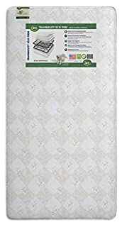 Serta's Tranquility Eco Firm Crib and Toddler Mattress achieves a strong, stable and safe sleep surface that's made especially for your growing baby. Built with 120 heavy-duty innerspring coils for long-lasting firmness, air vents to keep it fresh, p...
