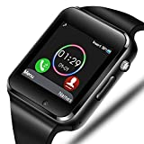 Smart Watch - Aeifond Bluetooth Smartwatch Touch Screen Wrist Watch Sports Fitness Tracker with Camera SIM SD Card Slot Pedometer Compatible iPhone iOS Samsung LG Android Men Women Kids (Black)