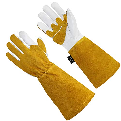 OLSON DEEPAK Grain Leather MIG Gloves with Split Leather Palm Reinforcements, Split Leather Back, Cotton Lining, Seamless Forefinger and Elastic Back (White-Golden)