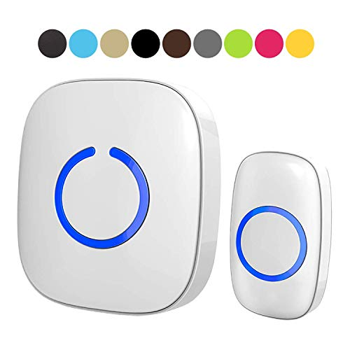 SadoTech Model C Wireless Doorbell, Easy Install, Over 1000-feet Range, 52 USA Chimes, Adjustable Volume and LED Flash, White