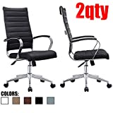 Product review for 2xhome - Set of Two (2) - Black- Modern High Back Tall Ribbed PU Leather Swivel Tilt Adjustable Chair Designer Boss Executive Management Manager Office Conference Room Work Task Computer