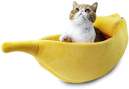 Amazon Com Petgrow Cute Banana Cat Bed House Large Size Pet Bed Cave Soft Cat Cuddle Bed Lovely Pet Supplies For Cats Kittens Bed Yellow Pet Supplies