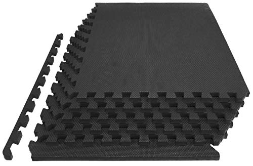 "Prosource Fit Extra Thick Puzzle Exercise Mat 1"", EVA Foam Interlocking Tiles for Protective, Cushioned Workout Flooring for Home and Gym Equipment, Black"