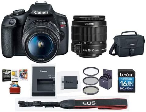 Canon EOS Rebel T7 24.1MP DSLR Camera with EF-S 18-55mm f/3.5-5.6 is II Lens – Bundle with 58mm Filter Kit, Camera Case, 16GB SDHC Card, Mac Software Packge