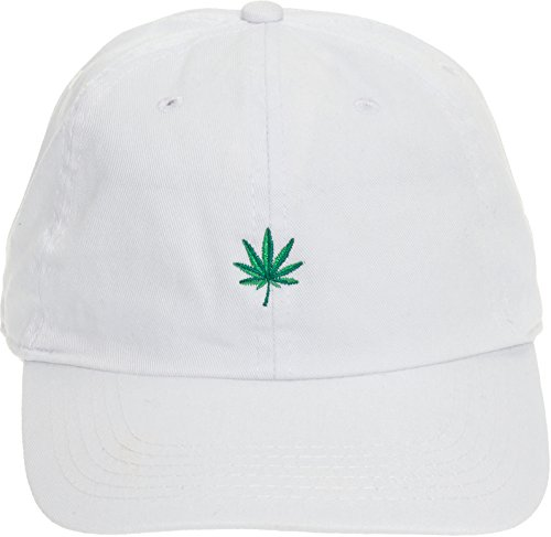 Newhattan Weed Leaf Dad Hat - 100% Cotton Adjustable Sports Cap (White)