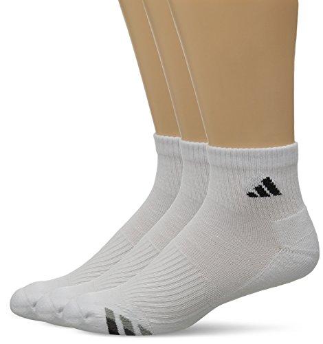 adidas Men's Cushion Quarter Socks (Pack of 3), White/Black/Granite/Light Onix, Large fits shoe size 6-12