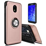 lovpec Hard Galaxy J7 2018 / J7 Refine / J7 Star / J7V 2nd Gen / J7 Top Case, [Cards Slot] Ring Magnetic Holder Kickstand Shockproof Protective Phone Case Cover for Samsung Galaxy J7 2018 (Rose Gold)