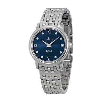 Omega DeVille Prestige Blue Diamond Dial Stainless Steel Ladies Watch 42410276053001