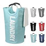 DOKEHOM DKA0001LB2 82L Large Laundry Basket (6 Colors), Collapsible Fabric Laundry Hamper, Foldable Clothes Bag, Folding Washing Bin (Light Blue, L)