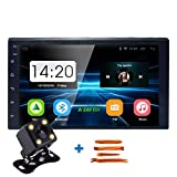 Keleda 7001 Android Double Din Car Stereo with Backup Camera,Auto GPS Navigation System WiFi Bluetooth Radio Receiver 7-inch Touchscreen LCD Monitor,in-Dash DVD/CD/MP3/USB Aux-in