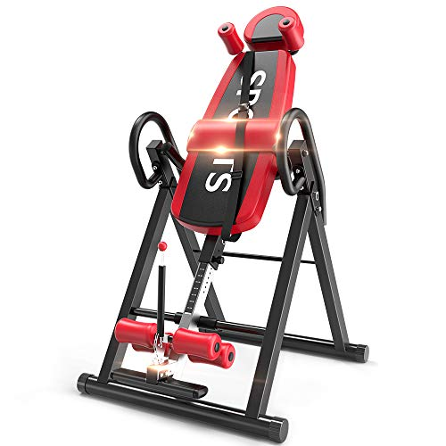 Yoleo Gravity Heavy Duty Inversion Table with Adjustable Headrest & Protective Belt (Red)