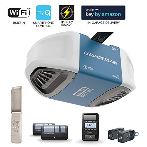 Chamberlain Group Chamberlain B970 Smartphone-Controlled Ultra-Quiet & Strong Belt Drive Garage Door Opener with Battery Backup and MAX Lifting Power, Blue,
