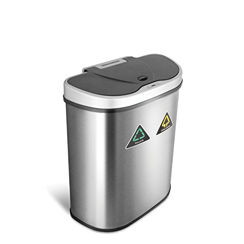 NINESTARS DZT-70-11R Automatic Touchless Infrared Motion Sensor Trash Can/Recycler, 18 Gal 70L, Stainless Steel Base (D Shape, Silver/Black Lid)
