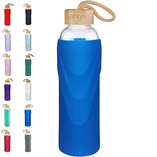 Origin Best BPA-Free Glass Water Bottle with Protective Silicone Sleeve and Bamboo Lid - Dishwasher Safe (Royal Blue, 14 oz)