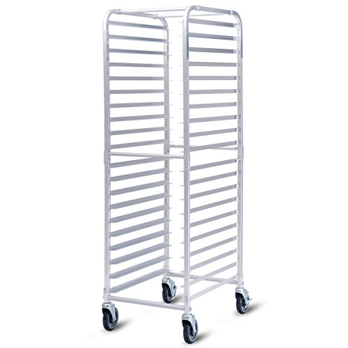 Giantex 20-Tier Kitchen Bun Pan Sheet Rack Aluminum Bakery Rack Home Commercial Kitchen Bakery Cooling Rack w/Wheels 2 Lockable & Open Shelf