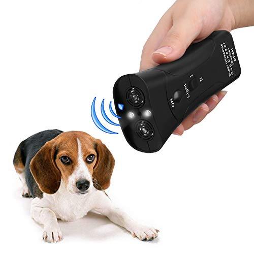 PET CAREE Handheld Dog Repellent, Dual Channel Electronic Animal Repellent, Handy Ultrasonic Dog Deterrent for Outdoor Camping Garden, Bark Stopper + Good Behavior Dog Training 1