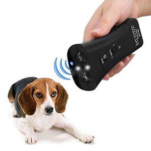 PET CAREE Handheld Dog Repellent, Dual Channel Electronic Animal Repellent, Handy Ultrasonic Dog Deterrent for Outdoor Camping Garden, Bark Stopper + Good Behavior Dog Training