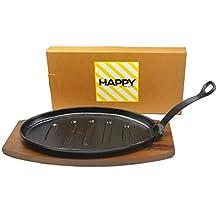 Happy Sales HSS-TBSP1, Cast Iron Sizzling Steak Plate Large