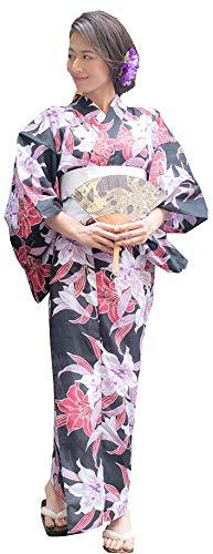 Kimura Jitsugyo Women's Kyoto Traditional Easy Wearing Kawaii Yukata Robe(Japanese Casual Kimono) Full Set 4 Black & Lily Woman 15 Woman