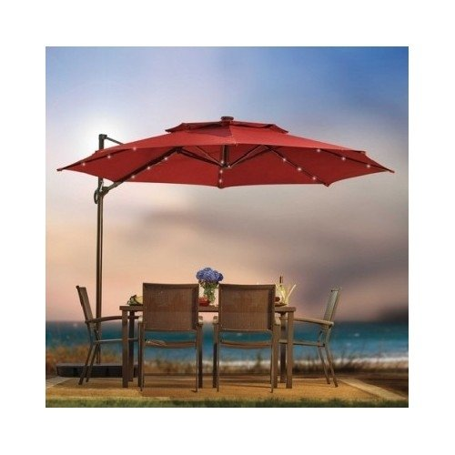 Outdoor Patio Cantilever Umbrella 11 Foot Round Canopy With Solar Powered Lights Includes Base And Storage Cover (Salsa)