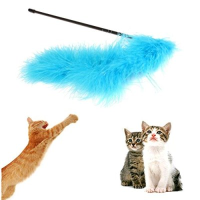 1pc Catcher Teaser Toy For Pet Feather Wand Stick For Cat Kitten...